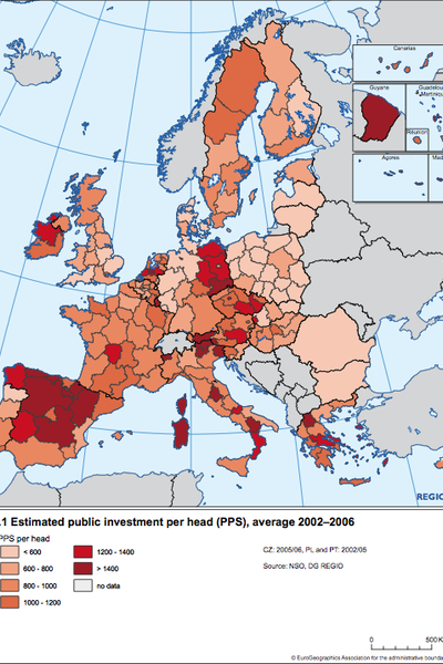 Estimated public investment per head (PPS), average 2002-2006