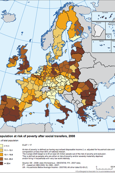 Population at risk of poverty after social transfer, 2008