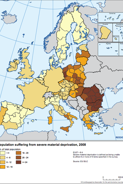 Population suffering from severe material deprivation, 2008