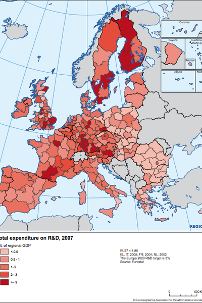 Total expenditure on R&D, 2007